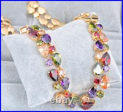 14k Gold GF Necklace made w Auth Swarovski Crystal Multicolor Stone Gorgeous