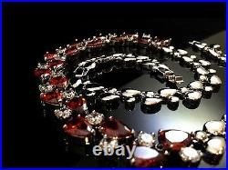 14k White Gold GF Necklace made with Swarovski Crystal Red & Clear Stone Statement