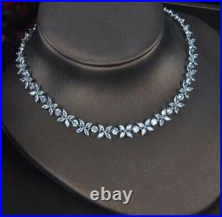 14k White Gold GP Tennis Necklace Earrings Set made w Swarovski Crystal Marquise