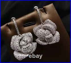 18K White Gold GF Flower Pendant Necklace Earring Set with Swarovski Crystal Stone