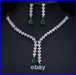 18K White Gold GP Long Pendant Necklace Earrings Set with Swarovski Crystal Green