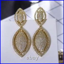 18k Gold GF Chandelier Earrings made with Swarovski Crystal Pave Diamond Gorgeous