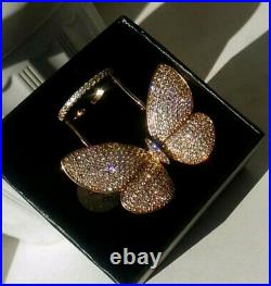 18k Gold GP Large Butterfly Ring with Swarovski Crystal Stone Designer Inspired