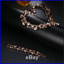 18k Rose Gold GF Necklace made with Authentic Swarovski Crystal Multicolor Stone