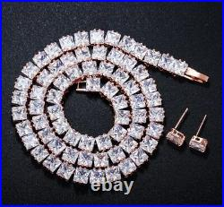 18k Rose Gold Tennis Necklace Earrings Set made w Swarovski Crystal Square Stone