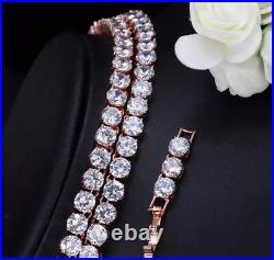 18k Rose Gold Tennis Necklace Earrings Set made w Swarovski Crystal Stone Bridal
