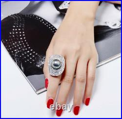 18k White Gold Bold Ring made with Swarovski Crystal Pave Stone Genuine Gray Pearl