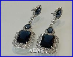 18k White Gold GF Long Earrings made w Swarovski Crystal Sapphire Blue Stone