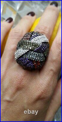 18k White Gold GF Multi-Color Bold Big Ring made with Swarovski Crystal Gorgeous
