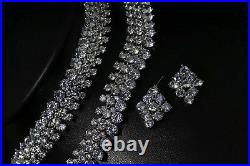 18k White Gold GF Necklace Earrings Set made w Swarovski Crystal Bridal Jewelry
