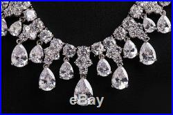 18k White Gold GF Necklace Earrings Set made w Swarovski Crystal Stones Bridal