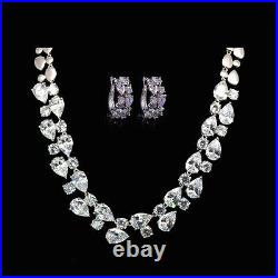 18k White Gold GF Necklace Earrings Set with Swarovski Crystal Simulated Diamond