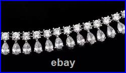 18k White Gold GF Tennis Necklace Earrings Set made with Swarovski Crystal Stones