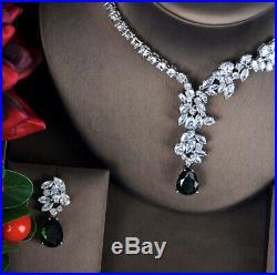 18k White Gold GP Necklace Earrings Set made w Swarovski Crystal Green Emerald