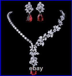 18k White Gold GP Necklace Earrings Set made w Swarovski Crystal Red Stone