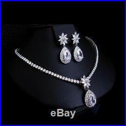 18k White Gold GP Necklace Earrings Set made with Swarovski Crystal Bridal Jewelry