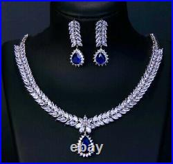 18k White Gold GP Necklace Earrings made w Swarovski Crystal Blue Sapphire Stone
