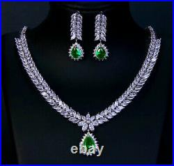 18k White Gold GP Necklace Earrings made w Swarovski Crystal Green Emerald Stone