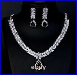 18k White Gold GP Necklace Earrings made with Swarovski Crystal Black Onyx Stone