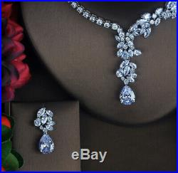 18k White Gold Necklace Earrings Set made w Swarovski Crystal Bridal Jewelry