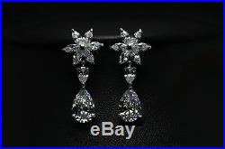 18k White Gold Necklace Earrings Set made with Swarovski Crystal Bridal Jewelry