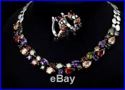 18k White Gold Necklace Earrings Set made with Swarovski Crystal Multicolor Stone