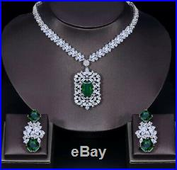18k White Gold Necklace Earrings made w Swarovski Simulated Green Emerald Sone