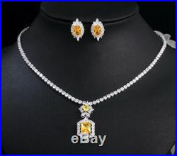 18k White Gold Pendant Necklace Earrings made w Swarovski Crystal Yellow Citrine
