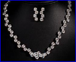 18k White Gold Tennis Necklace Earrings Set made with Swarovski Crystal Bridal