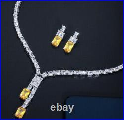 18k White Gold Tennis Necklace Earrings made w Swarovski Crystal Yellow Citrine
