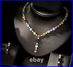 18k Yellow Gold GP Necklace Earrings Set with Swarovski Crystal Multicolor Stone