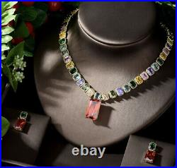 18k Yellow Gold GP Necklace Earrings made w Swarovski Crystal Multicolor Stone