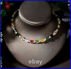 18k Yellow Gold GP Tennis Necklace Earrings made w Swarovski Crystal Multicolor