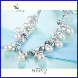 18k white gold gf made with SWAROVSKI crystal pearl wedding party necklace set