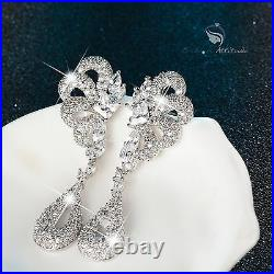 18k white gold gf made with SWAROVSKI crystal stud earrings necklace wedding set
