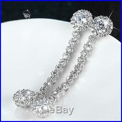 18k white gold made with SWAROVSKI crystal stud earrings necklace party wedding