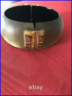 Alexis Bittar Frosted Green Lucite Hinged Cuff Bracelet With Gold And Crystal