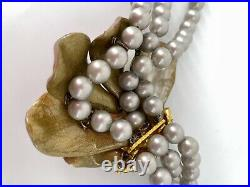 Alexis Bittar Gray Pearl Gold Tone Swarovski Crystals Lucite Statement Necklace