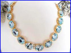 Anna Wintour Azore Blue Edwardian Gold Choker Necklace with Swarovski Crystals