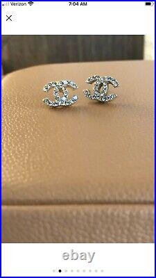 Authentic Chanel CC Stud Earrings with Swarovski