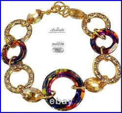 Bracelet Swarovski Crystals Volcano Ring Gold Gold Plated Silver Certificate