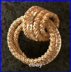CHRISTIAN DIOR Vintage Gold Plated Knot Brooch With Swarovski Crystals