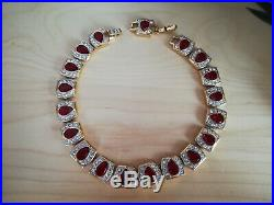COUTURE SWAROVSKI SIGNED RED CRYSTAL RHINESTONE Vtg Gold Choker Collar Necklace