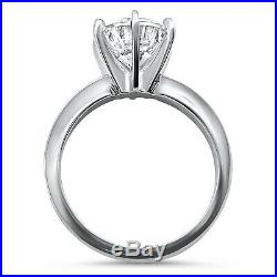 CZ Cubic Zirconia Solitaire Ring 6 Prong 2 Carat engagement 14K white gold