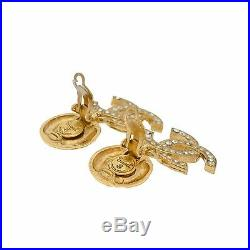 Chanel CC Logo Clip-on Earrings Gold Plated Swarovski Crystals