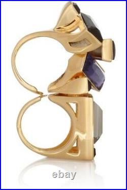 ETRO Ring Gold-plated Swarovski crystal two-finger, $584