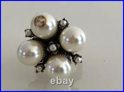 GUCCI RING, faux PEARLS, GOLDEN AGED FINISH, GUCCI 16 US 7.5