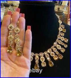 Givenchy Champagne Swarovski Crystal Statement Necklace and Earrings Set