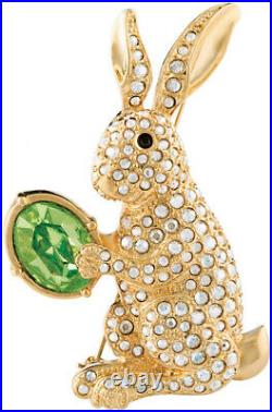 Gold Plated Easter Bunny Brooch With Swarovski Crystals Ari D Norman
