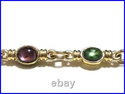 Gold Tone MONET Multicolor SWAROVSKI Crystal Double Sided Chain Link Necklace